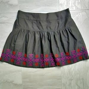 American Eagle Skirt Embroidered Border Gray M